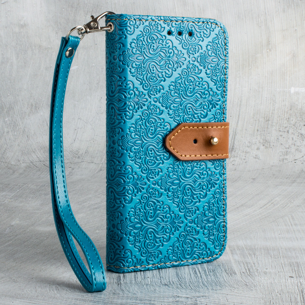 Apple iPhone X -  Vintage Floral wallet with detachable matching slim case and wristlet, Teal