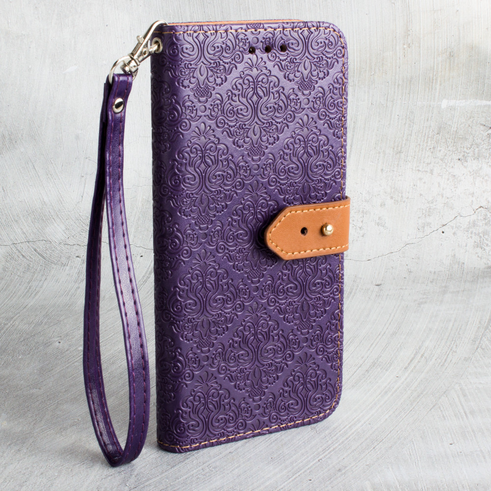 Apple iPhone X -  Vintage Floral wallet with detachable matching slim case and wristlet, Purple
