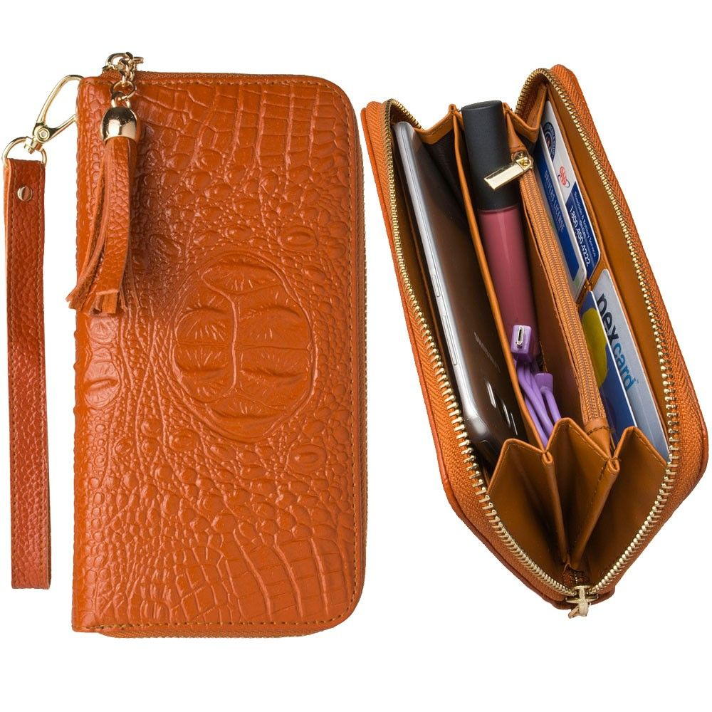 Apple iPhone 7 Plus -  Genuine Leather Hand-Crafted Alligator Clutch Wallet with Tassel, Brown