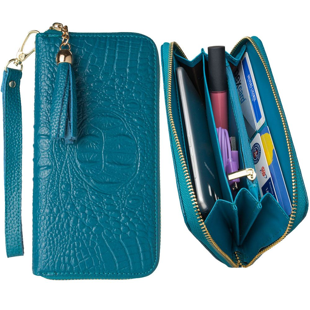 Apple iPhone 7 Plus -  Genuine Leather Hand-Crafted Alligator Clutch Wallet with Tassel, Turquoise