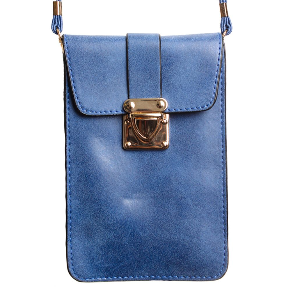 Apple iPhone 7 Plus -  Soft Leather Crossbody Shoulder Bag, Royal Blue
