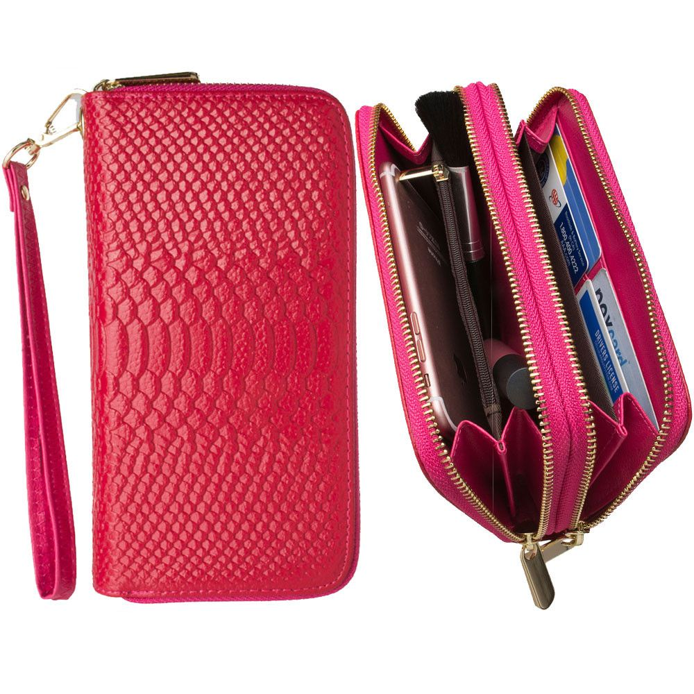 Apple iPhone 7 Plus -  Genuine Leather Hand-Crafted Snake-Skin Double Zipper Clutch Wallet, Hot Pink