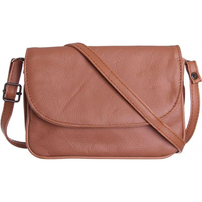 Genuine Leather Shoulder / Crossbody Handbag, Brown