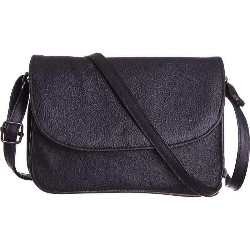 Genuine Leather Shoulder / Crossbody Handbag, Black