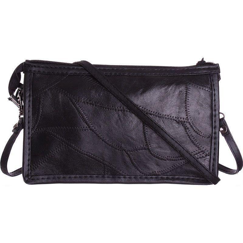 Apple iPhone 7 Plus -  Genuine Leather Stitched Pieces Crossbody, Black