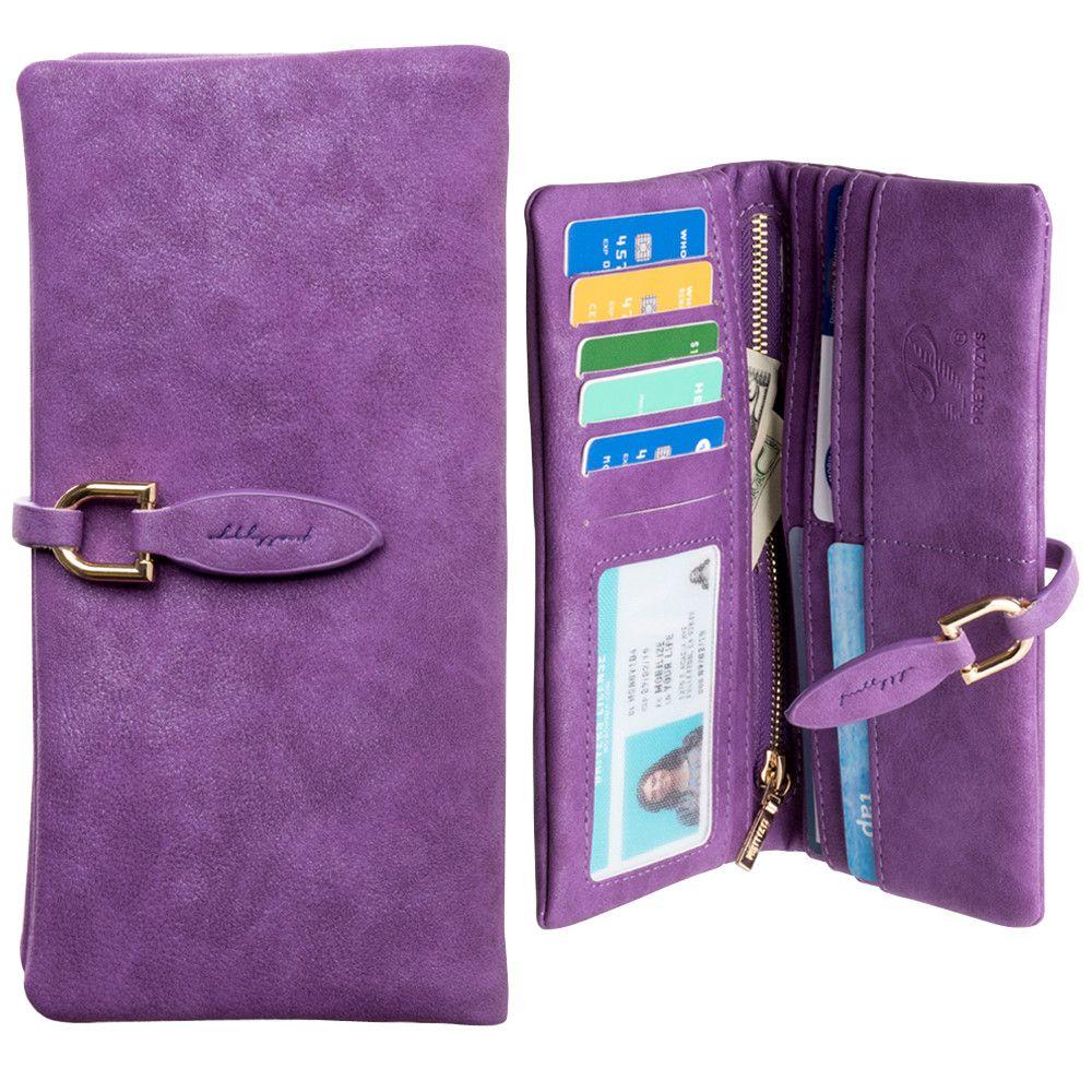 Apple iPhone 7 Plus -  Slim Suede Leather Clutch Wallet, Purple