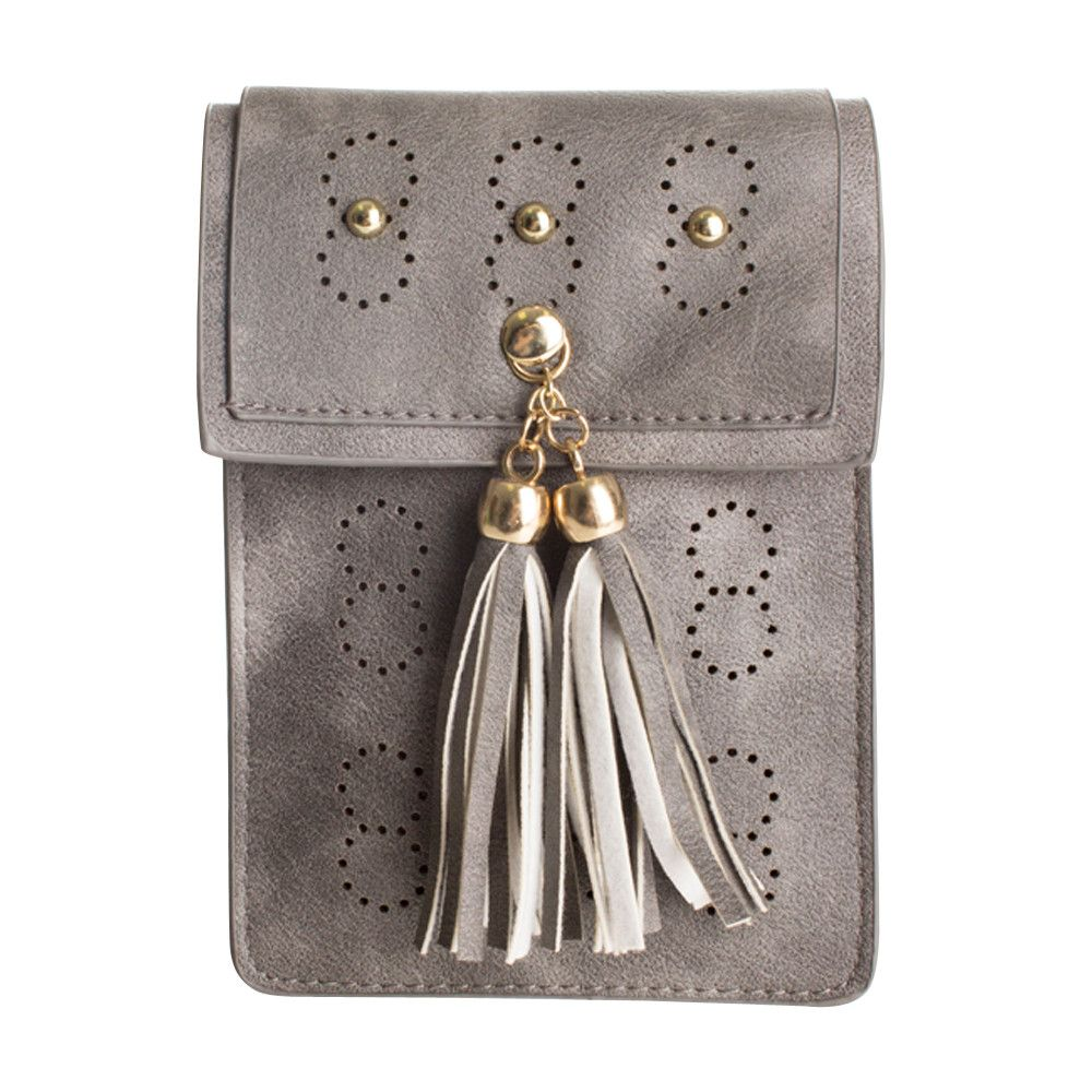 Apple iPhone 7 Plus -  Leather Tassel Crossbody Bag with Detachable Strap, Gray