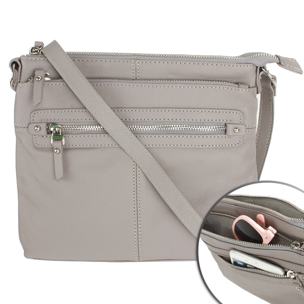 Apple iPhone 7 Plus -  Genuine Leather Hand-Crafted Crossbody Tote Bag, Gray