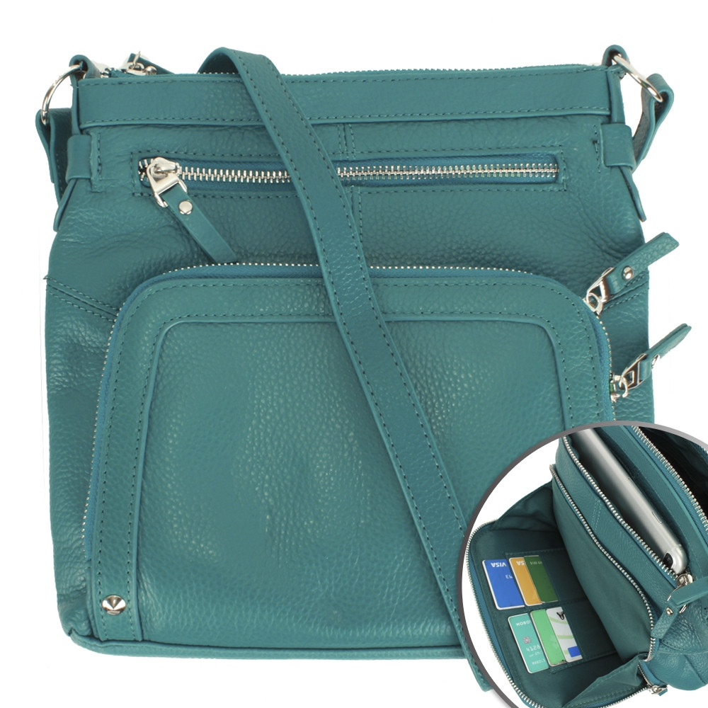 Apple iPhone 7 Plus -  Genuine Leather Hand-Crafted Crossbody Tote Bag with Studs, Teal