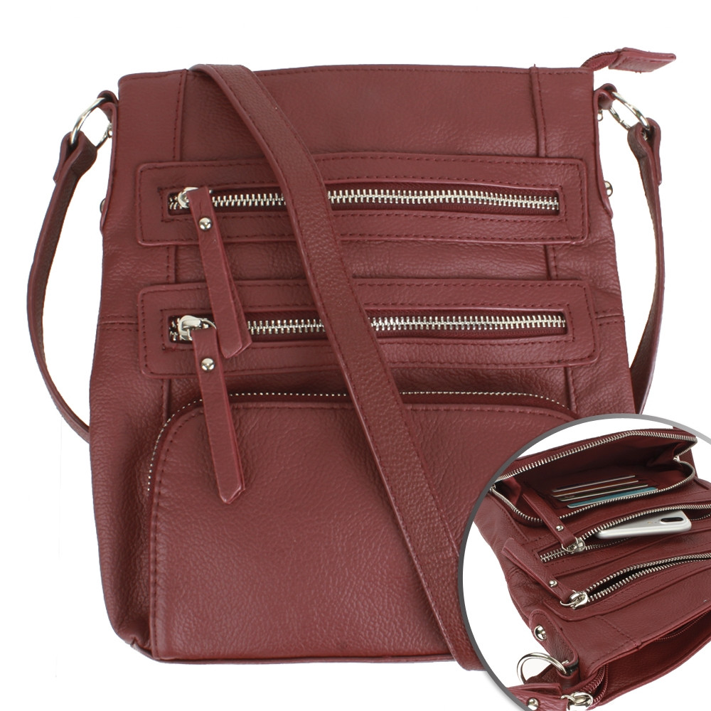 Apple iPhone 7 Plus -  Genuine Leather Hand-Crafted Crossbody Tote Bag with Double Zipper and Front Pouch, Wine
