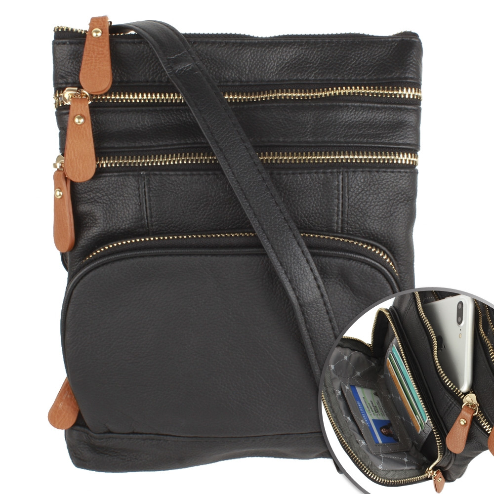 Apple iPhone 7 Plus -  Genuine Leather Hand-Crafted Crossbody Tote Bag with Back and Front Zippers, Black/Brown
