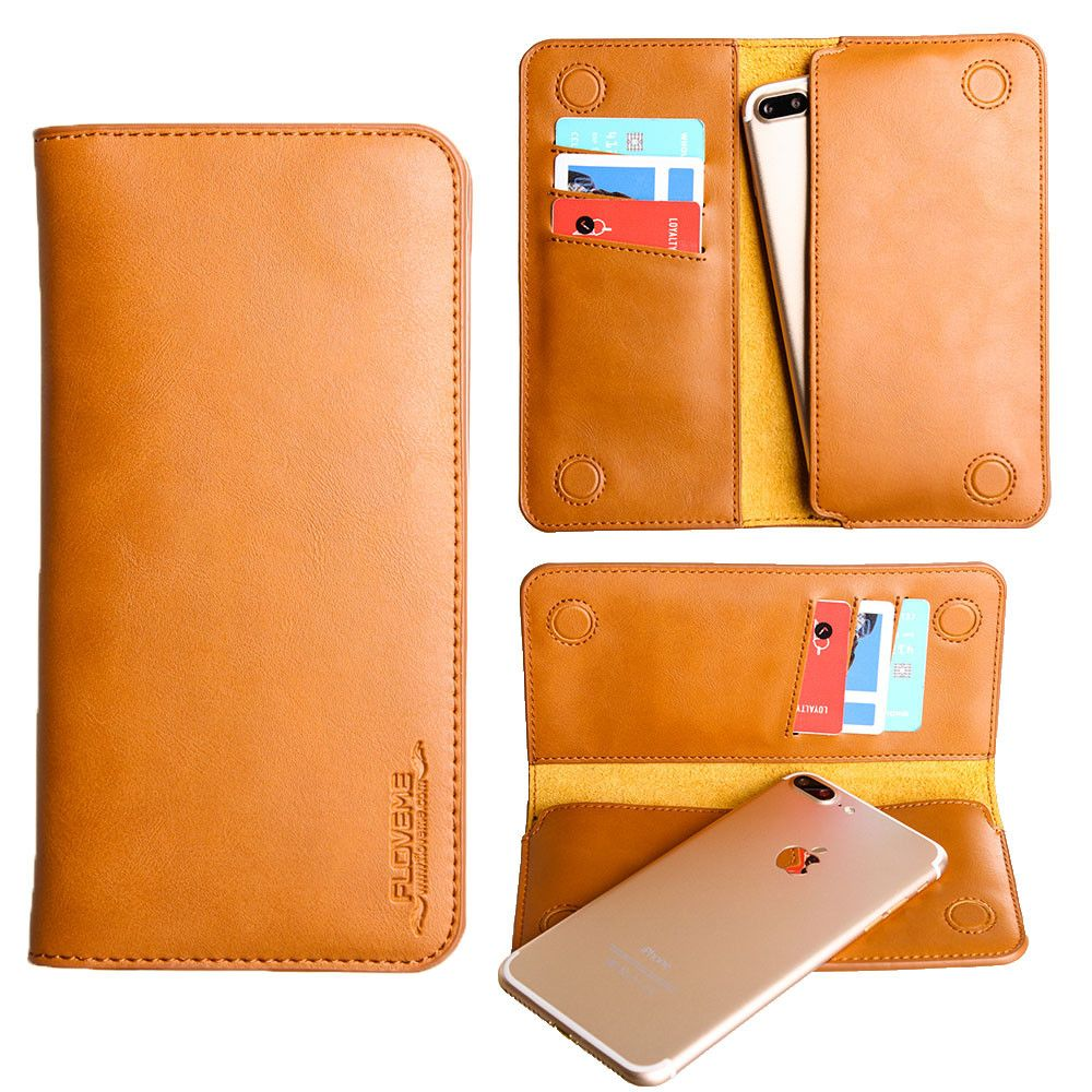 Apple iPhone 7 Plus -  Slim vegan leather folio sleeve wallet with card slots, Camel Brown