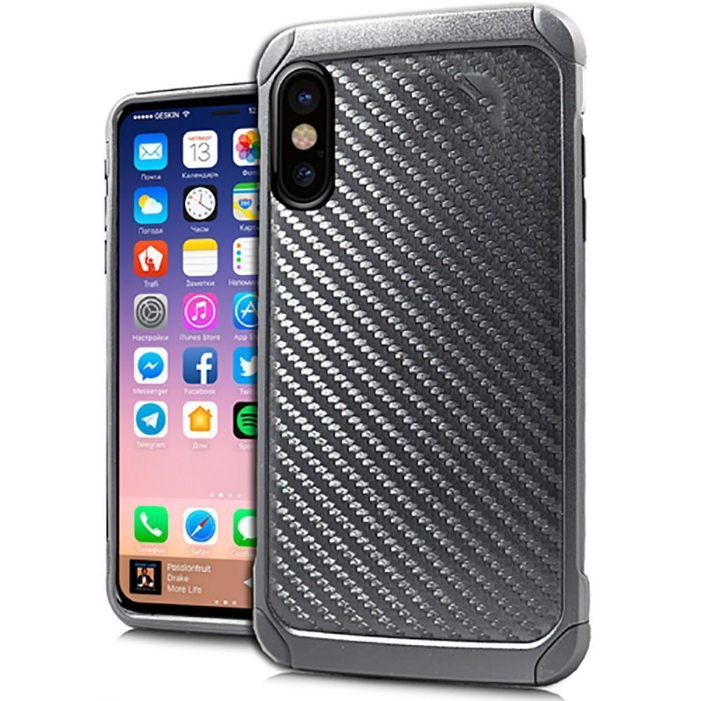 Apple iPhone X - Carbon Fiber Print Anti-Shock Hybrid Rugged Case, Black