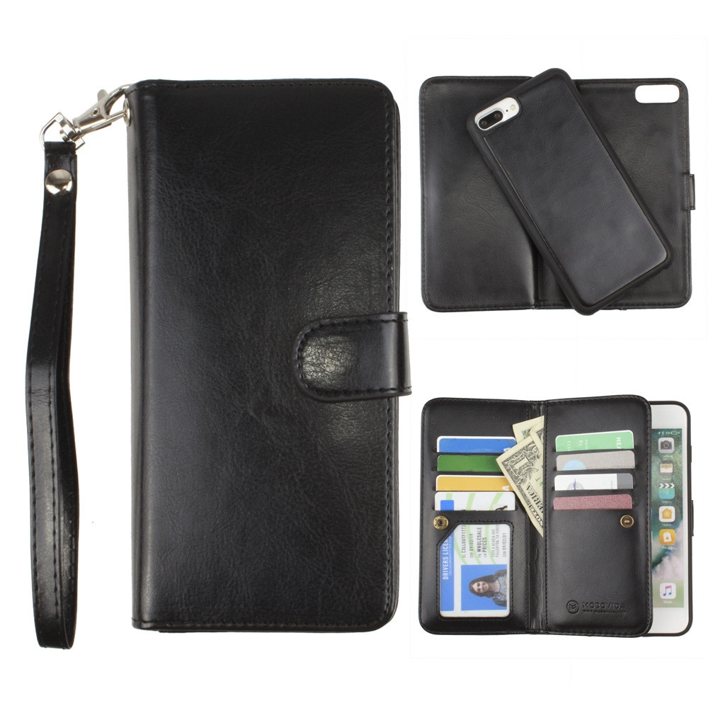 Apple iPhone 7 Plus -  Multi-Card Slot Wallet Case with Matching Detachable Case and Wristlet, Black