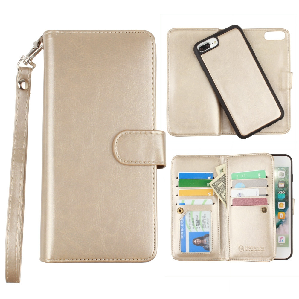 Apple iPhone 7 Plus -  Multi-Card Slot Wallet Case with Matching Detachable Case and Wristlet, Gold