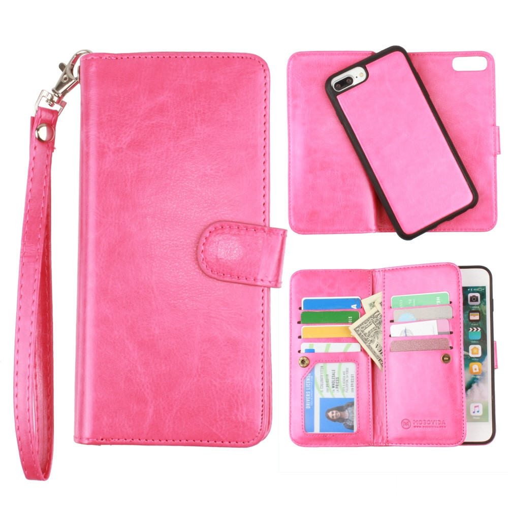 Apple iPhone 7 Plus -  Multi-Card Slot Wallet Case with Matching Detachable Case and Wristlet, Hot Pink