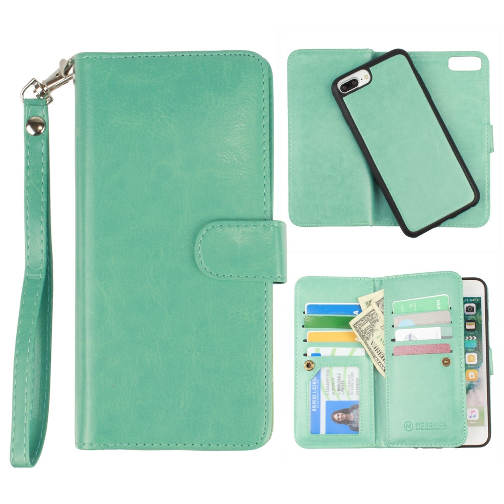 Apple iPhone 7 Plus -  Multi-Card Slot Wallet Case with Matching Detachable Case and Wristlet, Teal Blue