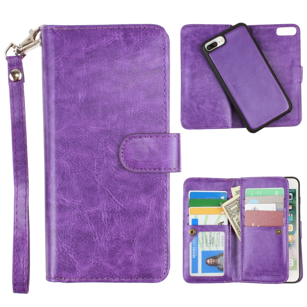 Apple iPhone 7 Plus -  Multi-Card Slot Wallet Case with Matching Detachable Case and Wristlet, Purple
