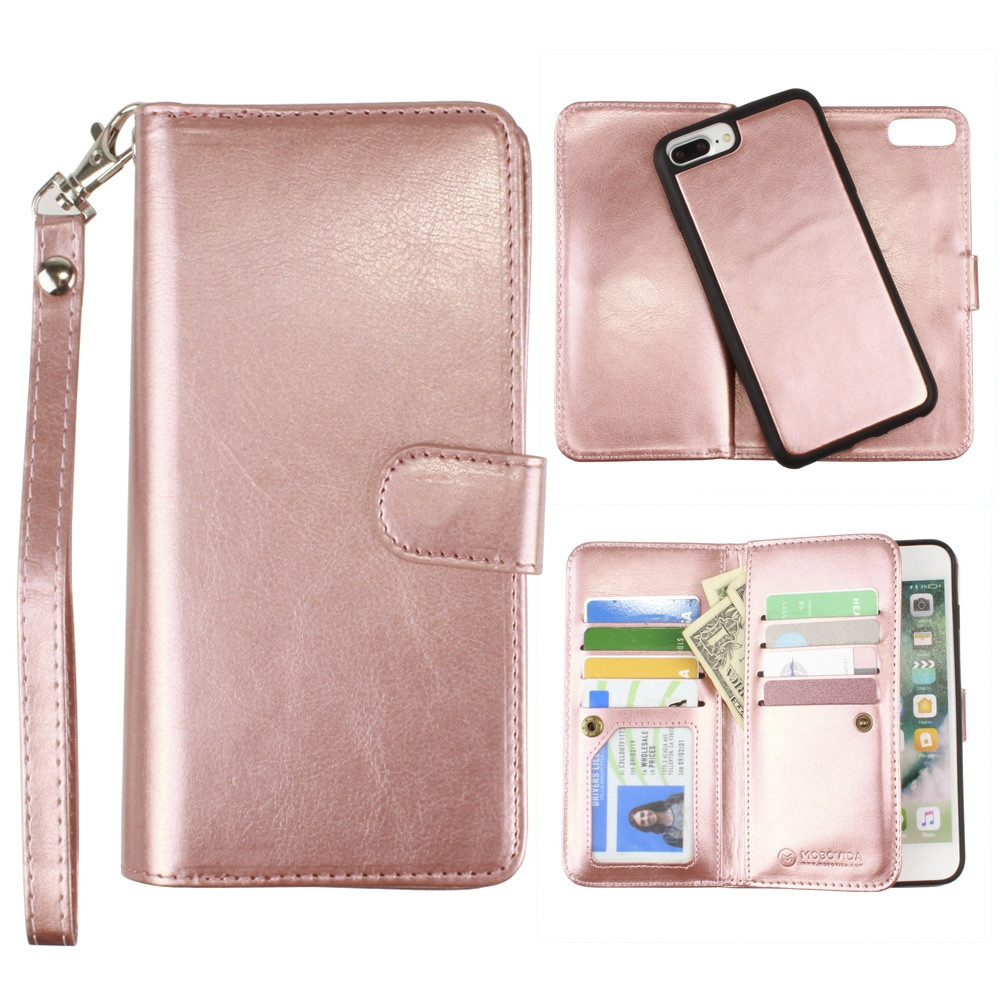 Apple iPhone 7 Plus -  Multi-Card Slot Wallet Case with Matching Detachable Case and Wristlet, Rose Gold