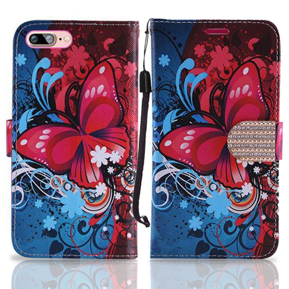 Apple iPhone 7 Plus -  Butterfly Harmony Swirl Shimmering Folding Phone Wallet, Pink/Blue