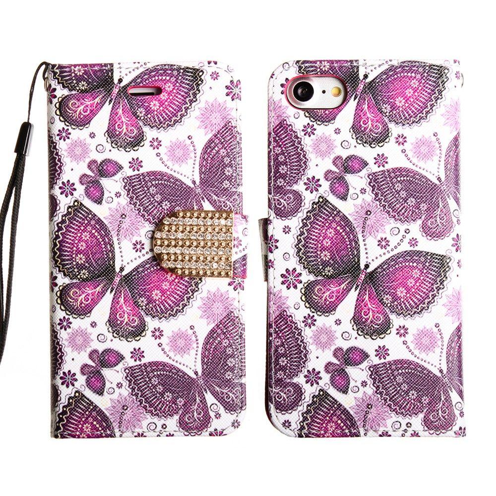 Apple iPhone 7 Plus -  Paisley Butterflies Shimmering Folding Phone Wallet, Purple