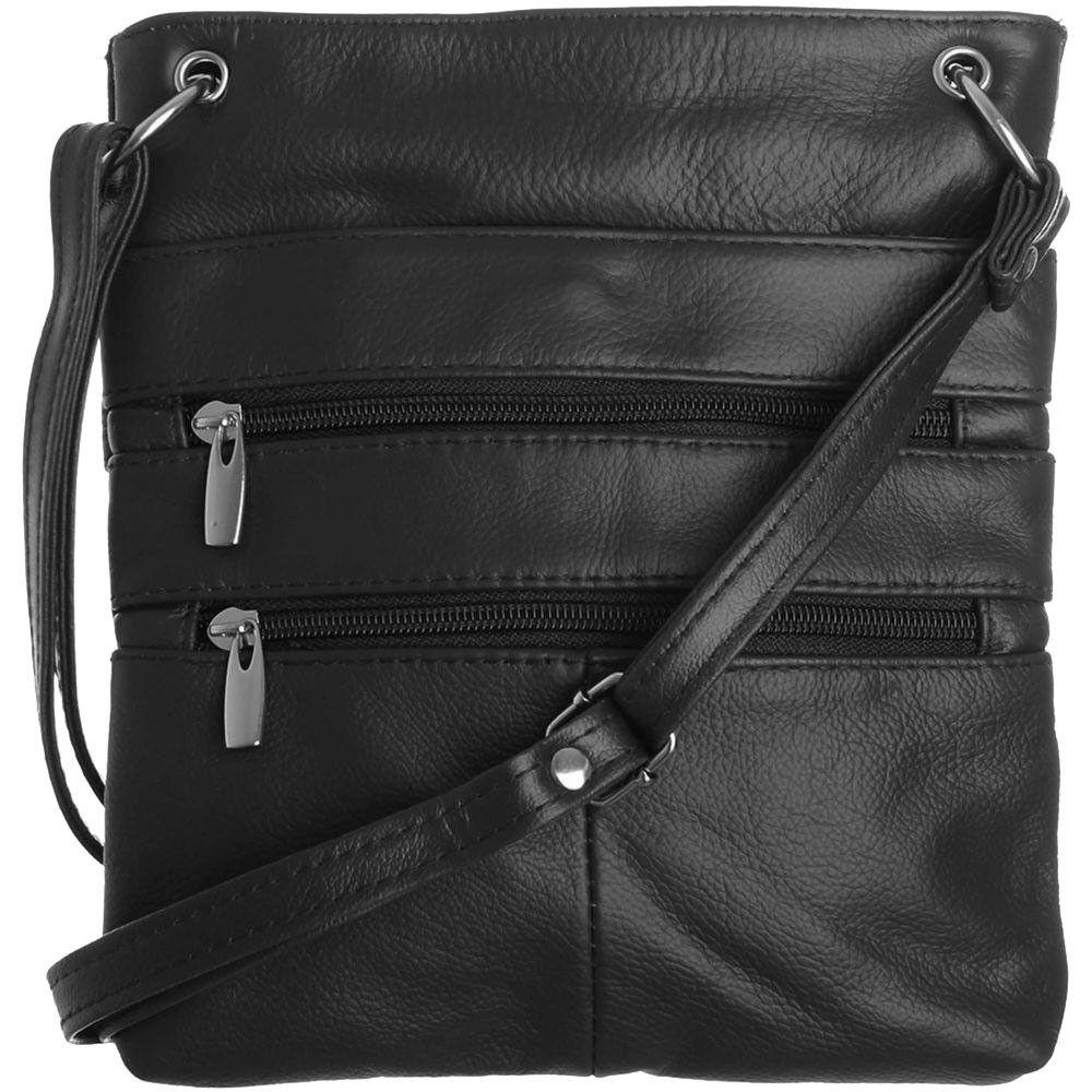 Apple iPhone 7 Plus -  Genuine Leather Double Zipper Crossbody / Tote Handbag, Black