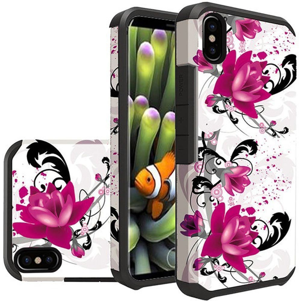 Apple iPhone X -  Flowers and Vines Design Slim Hybrid Rugged Case, Multi-Color