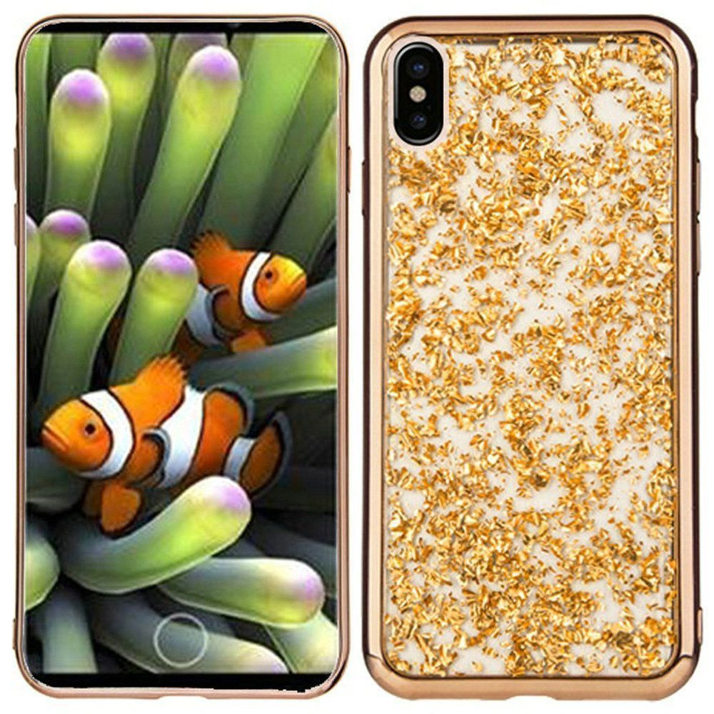 Apple iPhone X -  Slim Fashion Sparkling Flake TPU Case, Gold