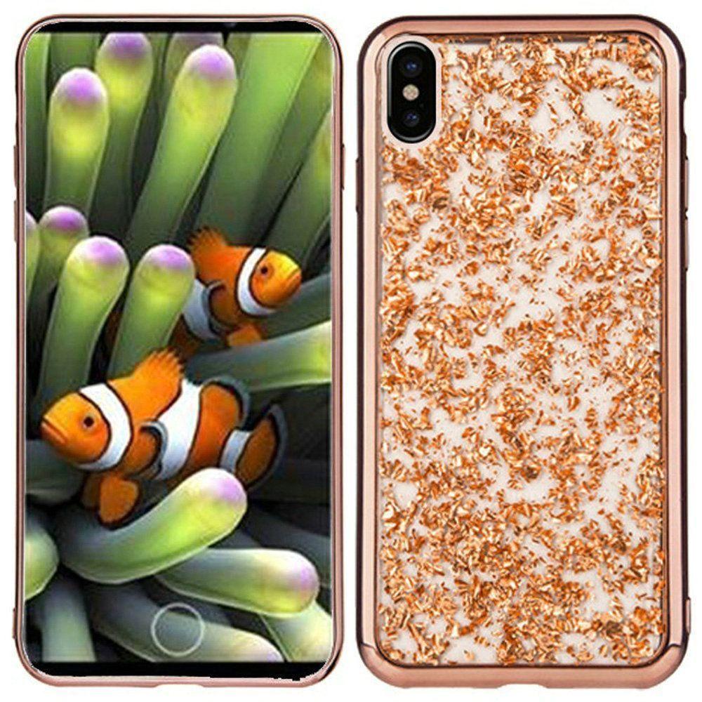 Apple iPhone X -  Slim Fashion Sparkling Flake TPU Case, Rose Gold