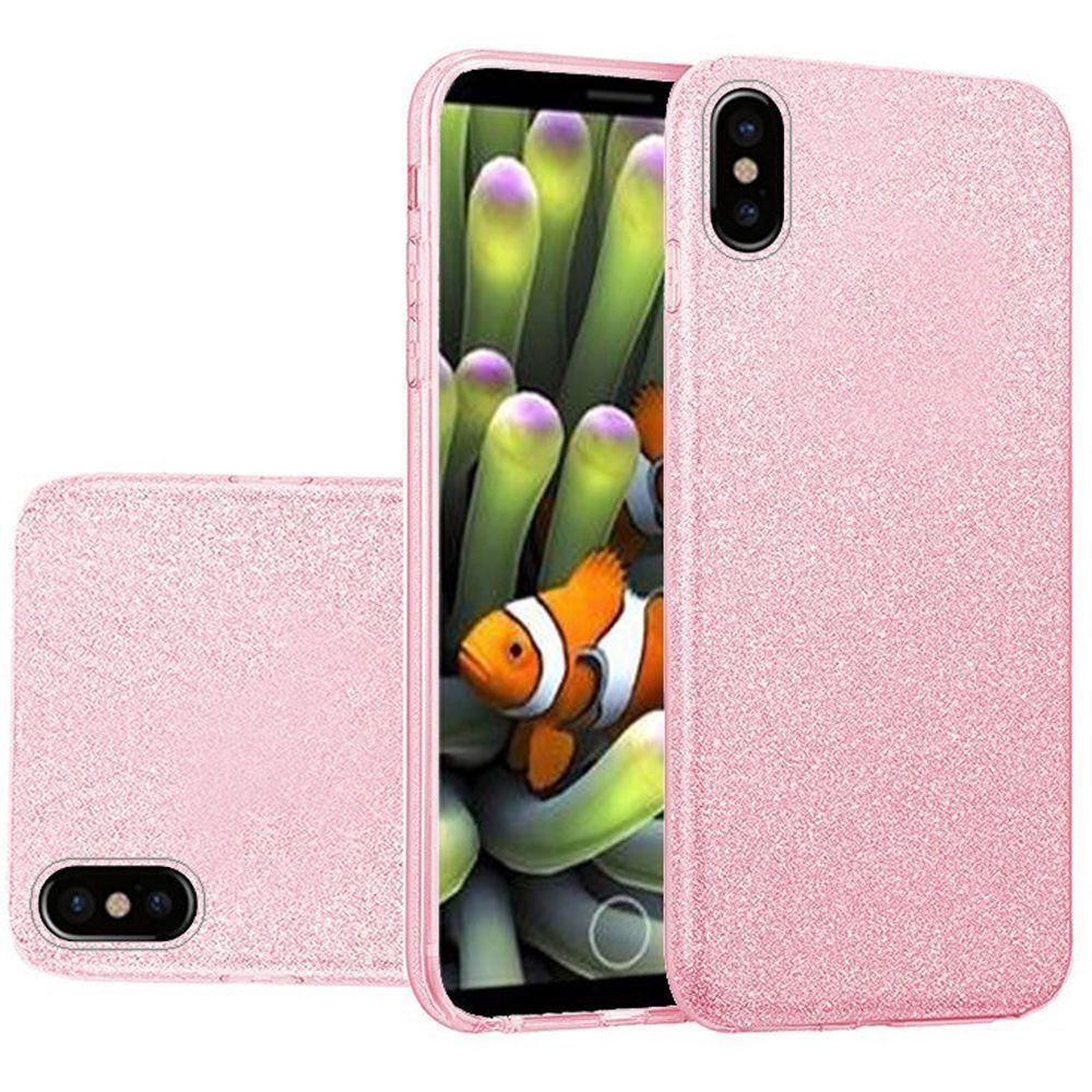 Apple iPhone X -  TPU Glitter Case, Light Pink