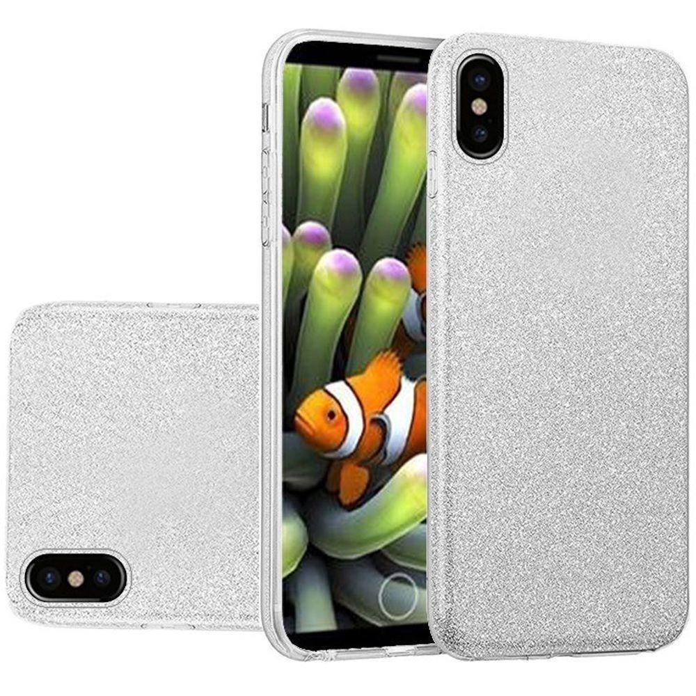 Apple iPhone X -  TPU Glitter Case, Silver