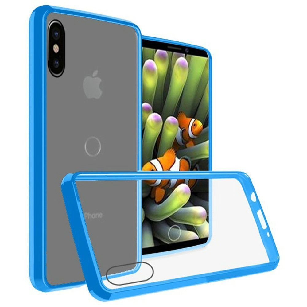 Apple iPhone X -  Slim Bumper Transparent TPU Case, Clear/Blue