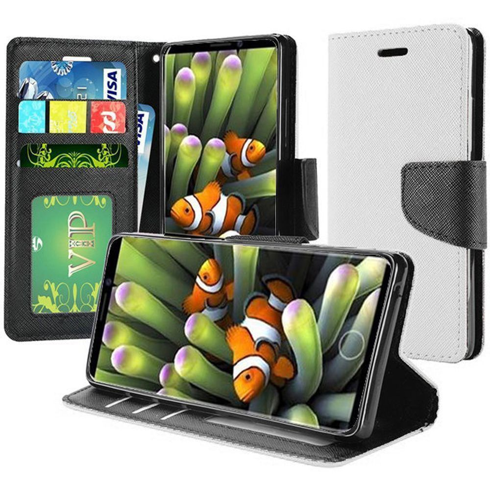 Apple iPhone X -  Premium 2 Tone Leather Folding Wallet Case, White/Black