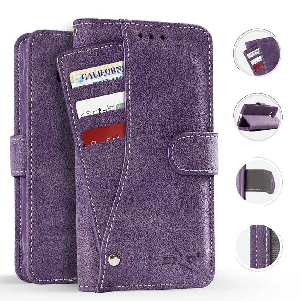Apple iPhone X -  Leather Folding Wallet Case with Slide out Card Holder, Purple