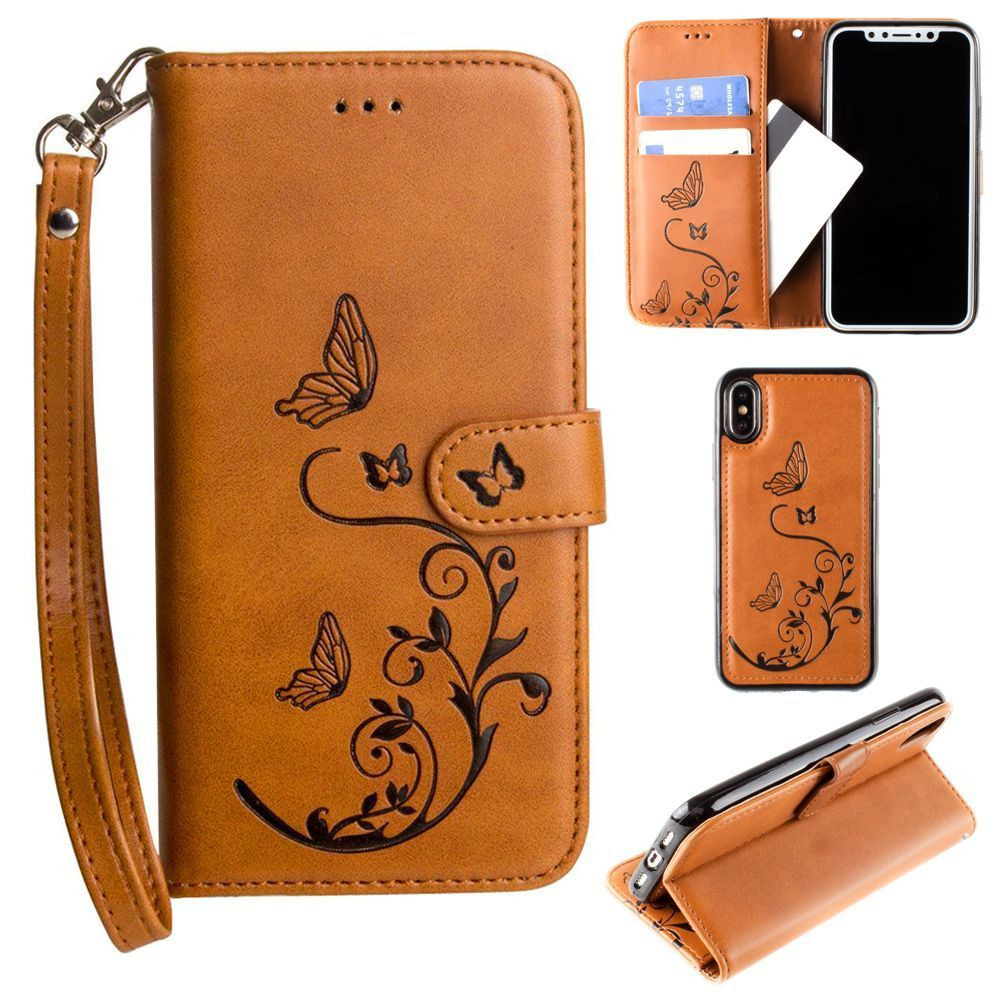 Apple iPhone X - Embossed Butterfly Design Wallet Case with Detachable Matching Case and Wristlet, Brown