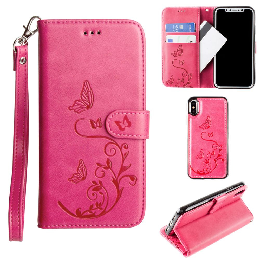 Apple iPhone X - Embossed Butterfly Design Wallet Case with Detachable Matching Case and Wristlet, Hot Pink