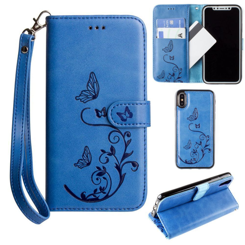 Apple iPhone X - Embossed Butterfly Design Wallet Case with Detachable Matching Case and Wristlet, Teal Blue