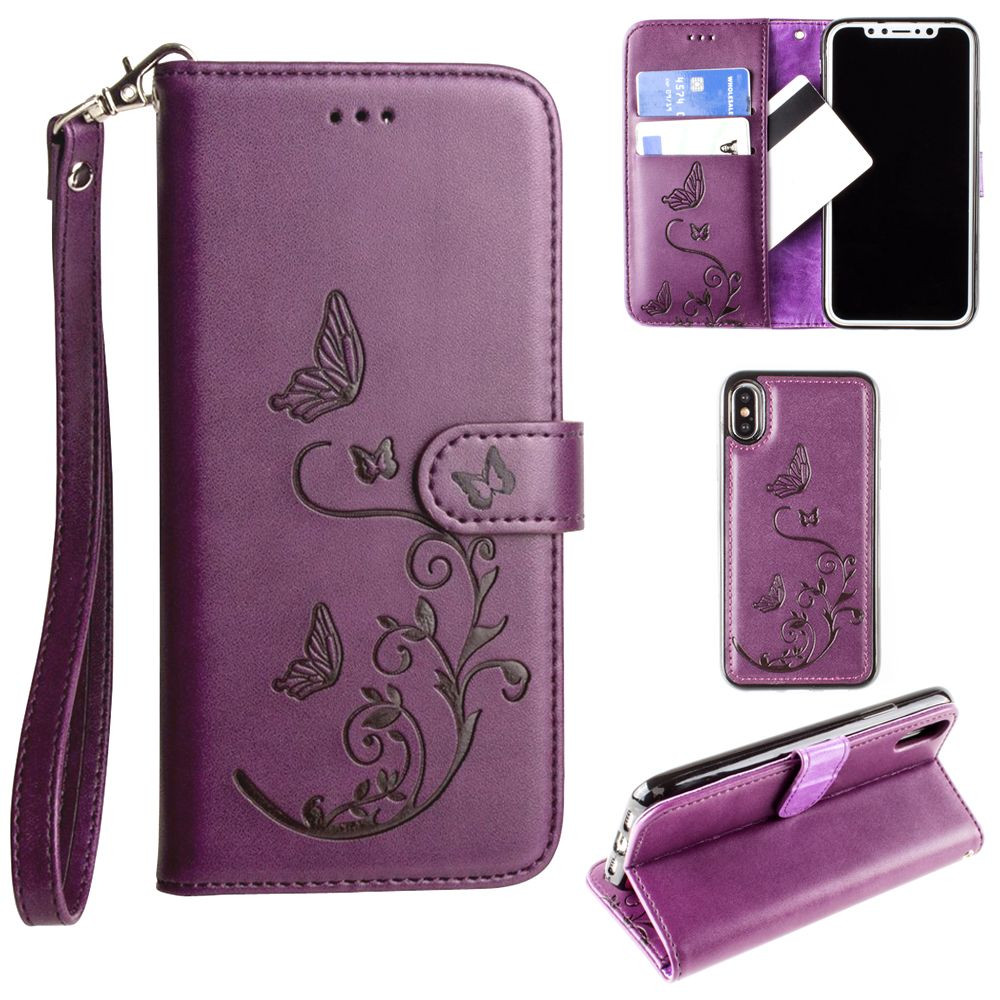 Apple iPhone X - Embossed Butterfly Design Wallet Case with Detachable Matching Case and Wristlet, Purple
