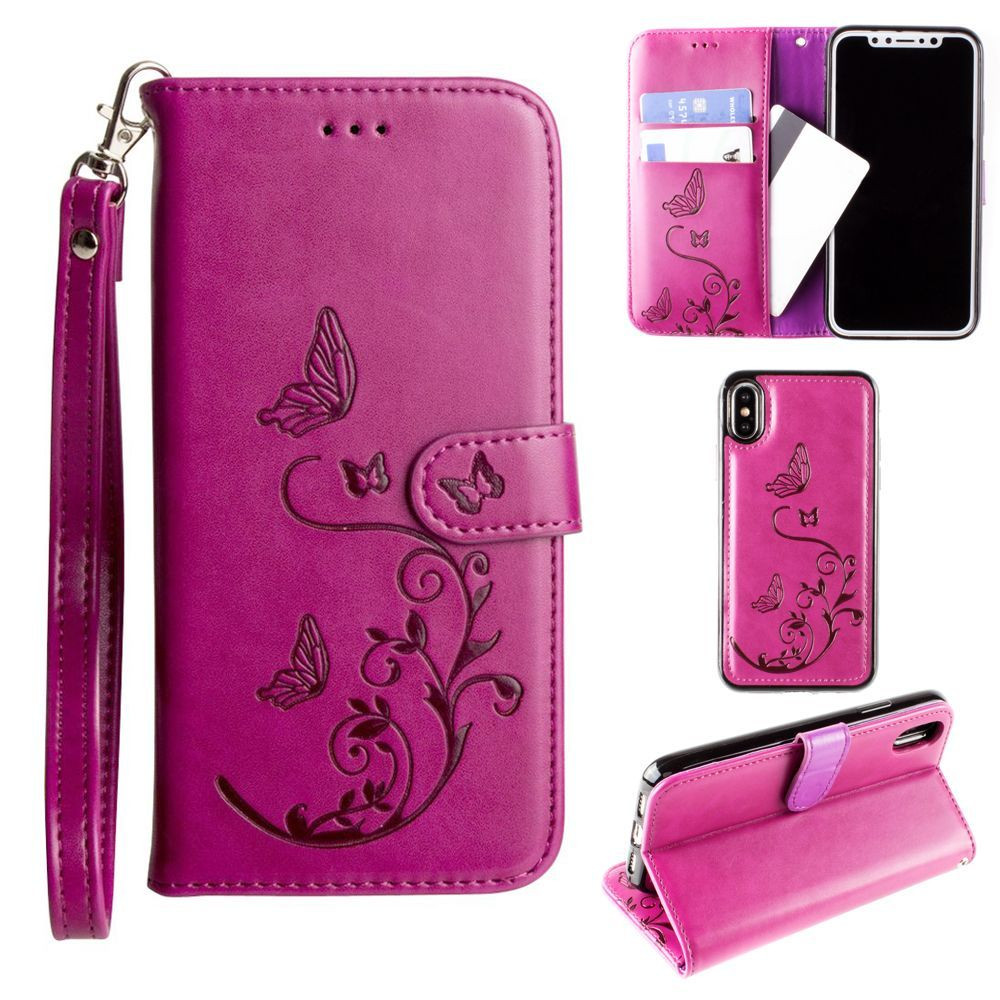 Apple iPhone X - Embossed Butterfly Design Wallet Case with Detachable Matching Case and Wristlet, Magenta