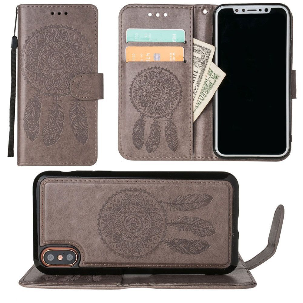 Apple iPhone X - Embossed Dream Catcher Design Wallet Case with Detachable Matching Case and Wristlet, Gray