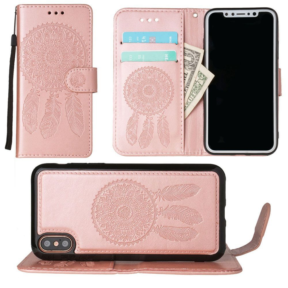 Apple iPhone X - Embossed Dream Catcher Design Wallet Case with Detachable Matching Case and Wristlet, Rose Gold