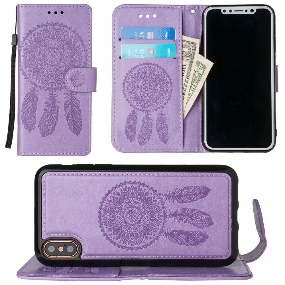 Apple iPhone X - Embossed Dream Catcher Design Wallet Case with Detachable Matching Case and Wristlet, Lavender