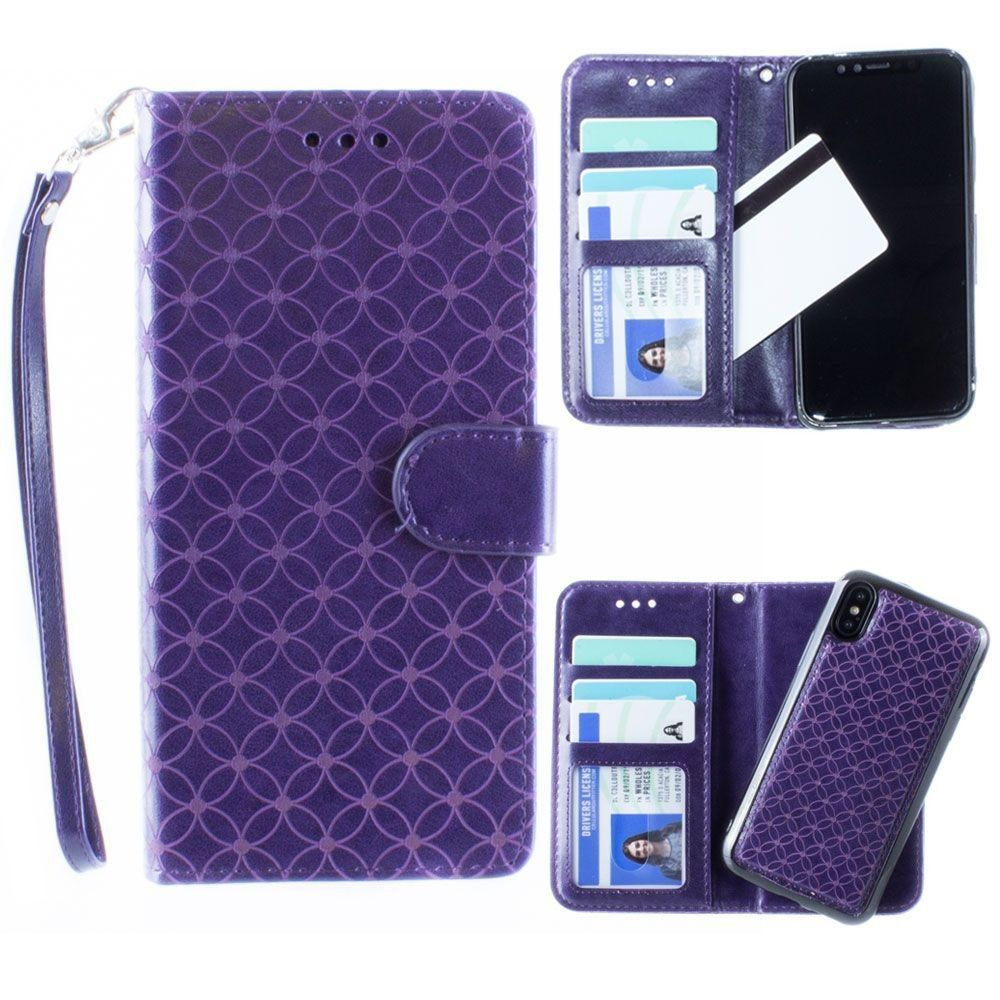 Apple iPhone X -  Diamond pattern laser-cut wallet with detachable matching slim case and wristlet, Purple