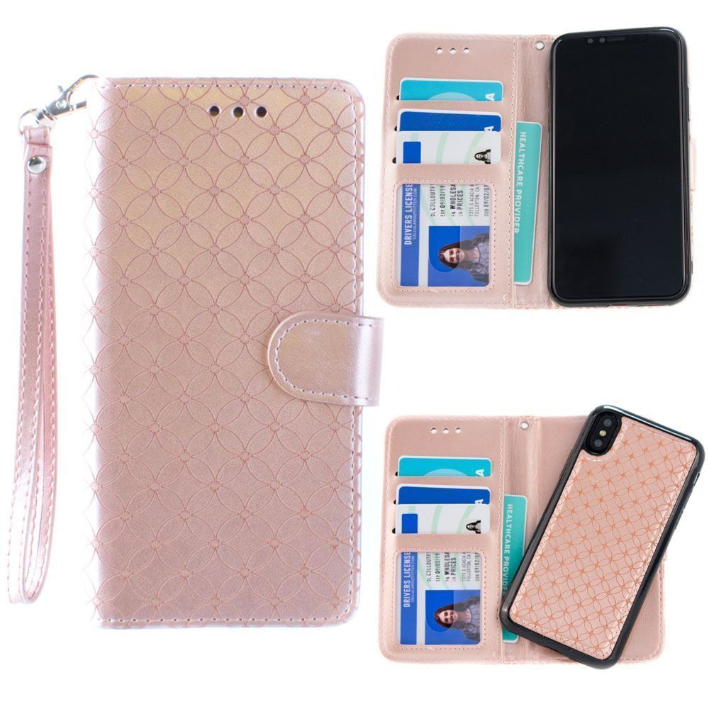 Apple iPhone X -  Diamond pattern laser-cut wallet with detachable matching slim case and wristlet, Rose Gold