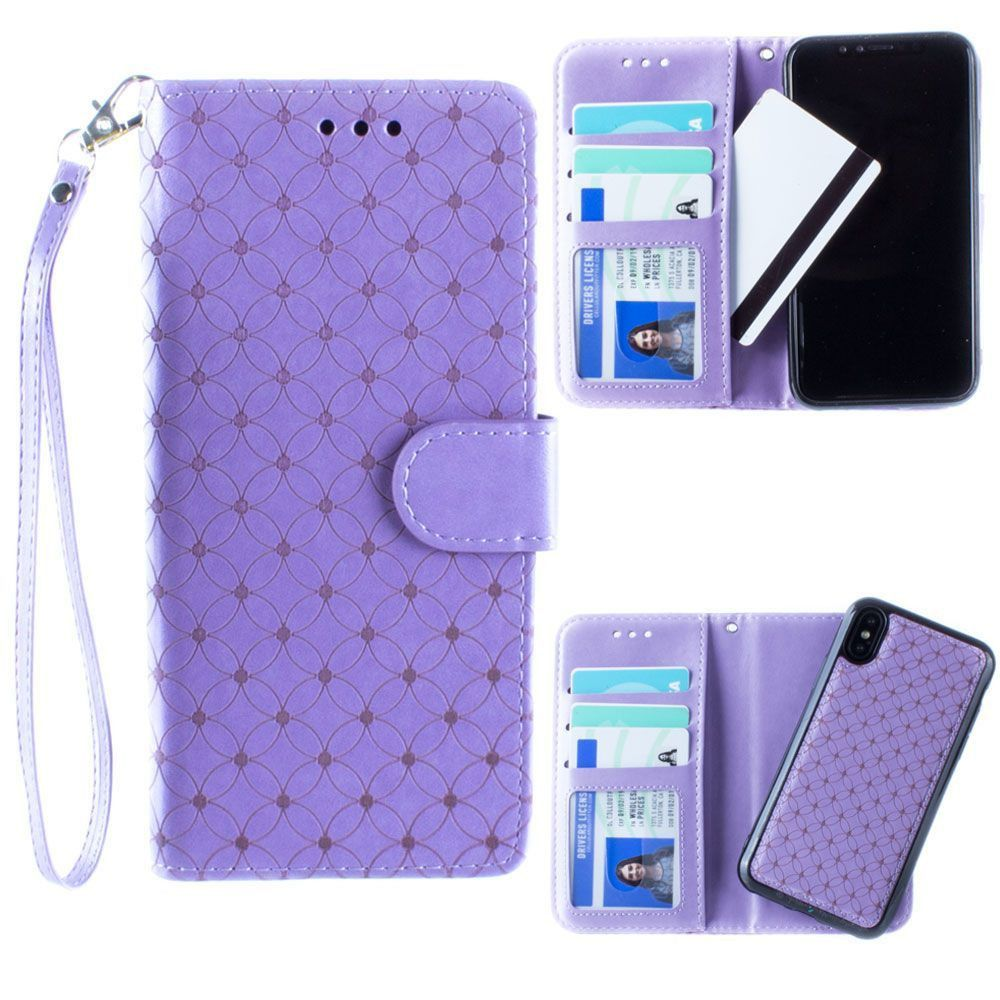 Apple iPhone X -  Diamond pattern laser-cut wallet with detachable matching slim case and wristlet, Lavender