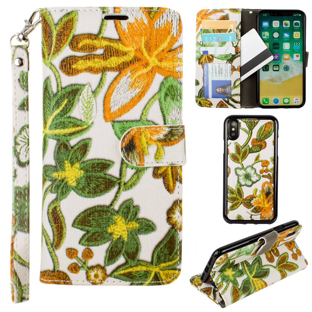 Apple iPhone X -  Faux Embroidery Printed Floral Wallet Case with detachable matching slim case and wristlet, Orange/Green