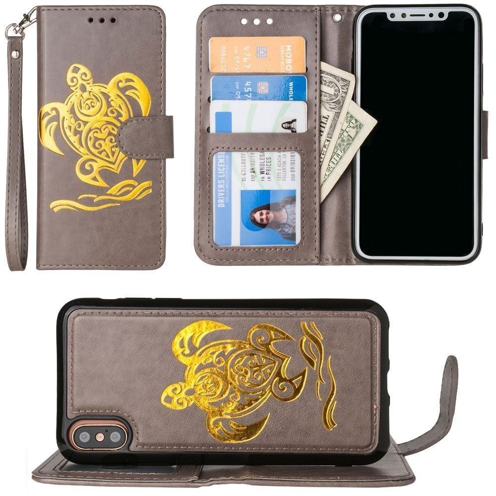 Apple iPhone X - Embossed Golden Sea Turtle Wallet with Detachable Matching Slim Case and Wristlet, Gray/Gold