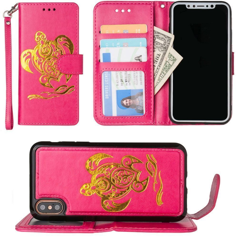 Apple iPhone X - Embossed Golden Sea Turtle Wallet with Detachable Matching Slim Case and Wristlet, Hot Pink/Gold