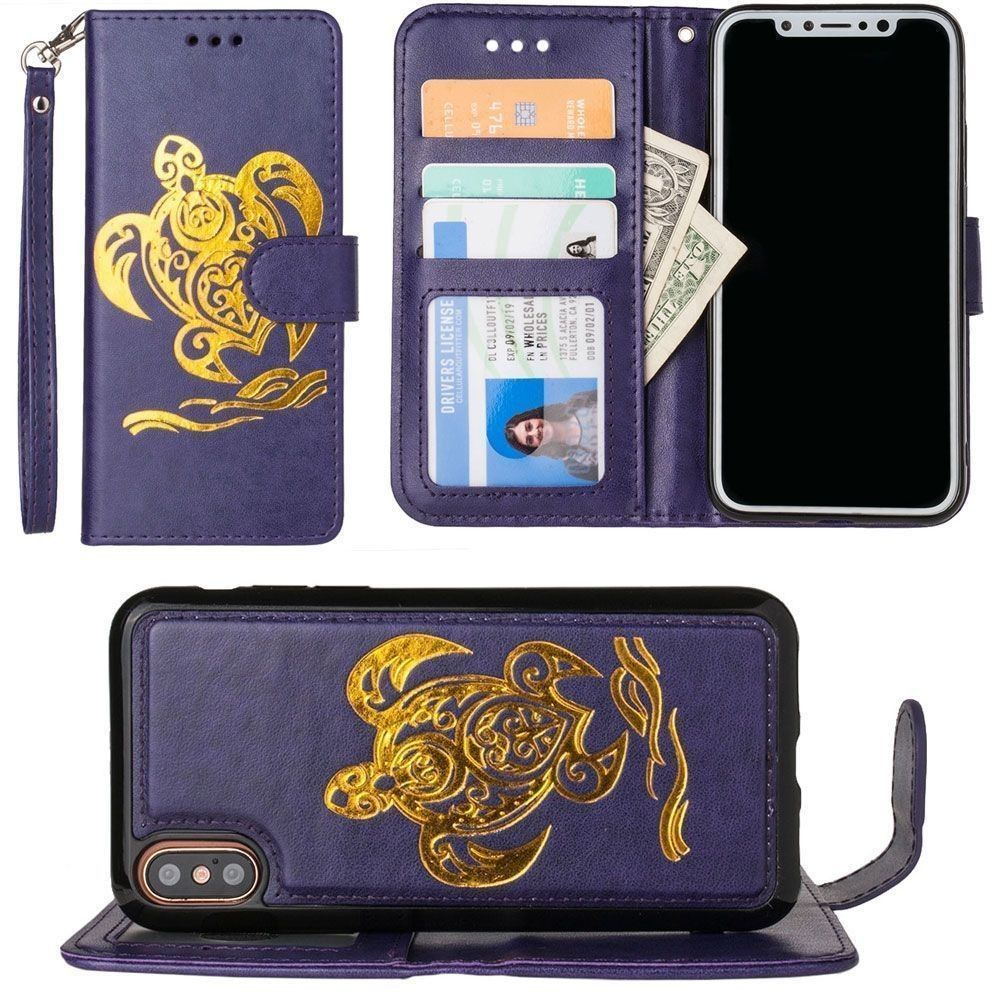 Apple iPhone X - Embossed Golden Sea Turtle Wallet with Detachable Matching Slim Case and Wristlet, Purple/Gold