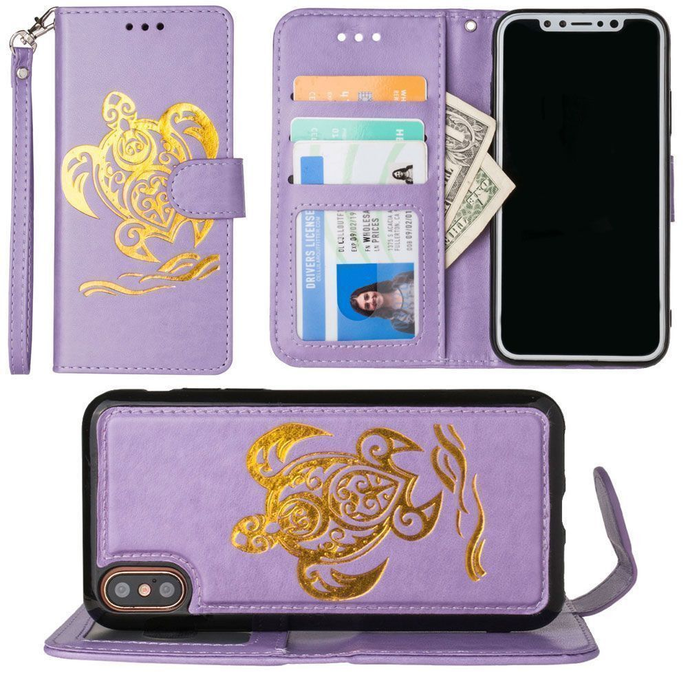 Apple iPhone X - Embossed Golden Sea Turtle Wallet with Detachable Matching Slim Case and Wristlet, Lavender/Gold